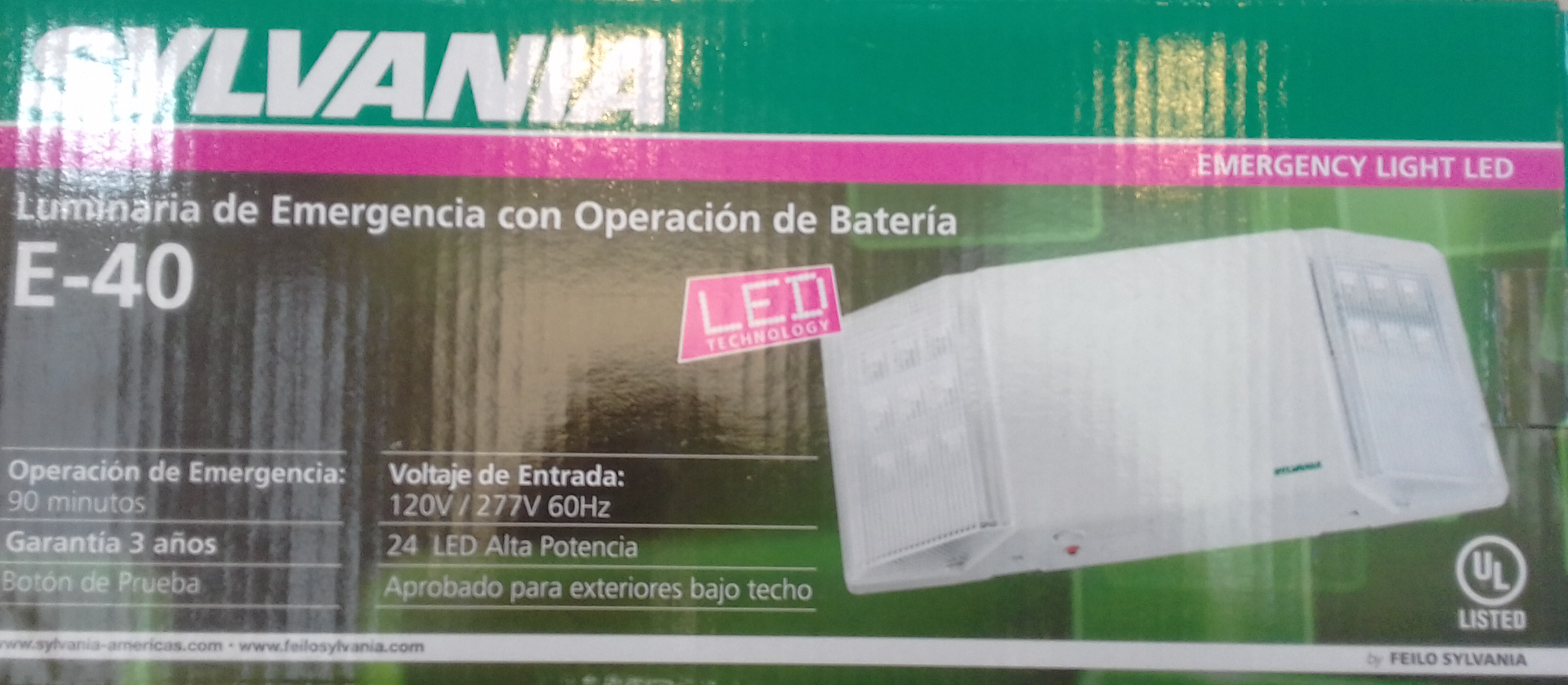 Lampara emergencia sylvania 2 luces LED